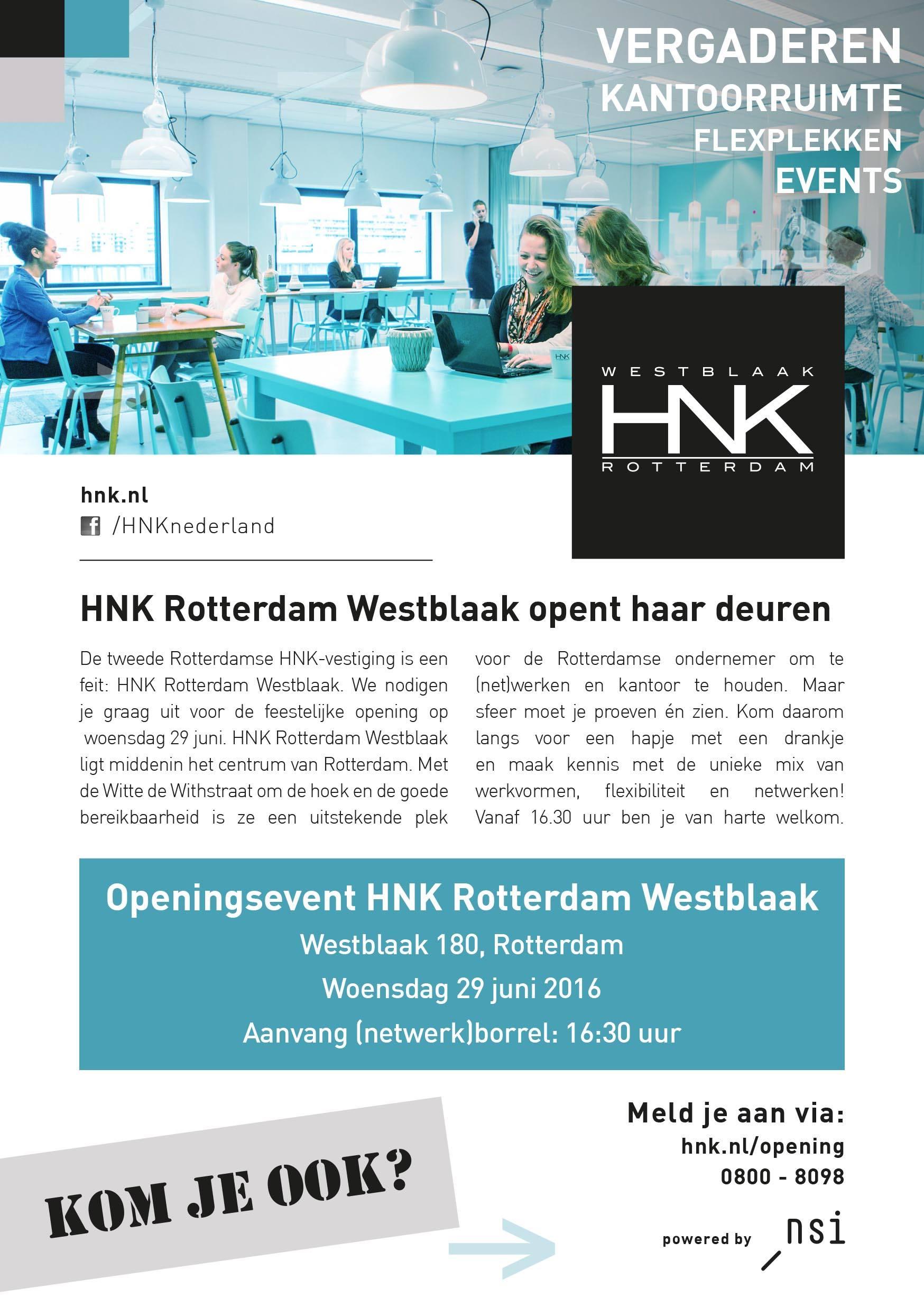 Flyer opening HNK Rotterdam Westblaak